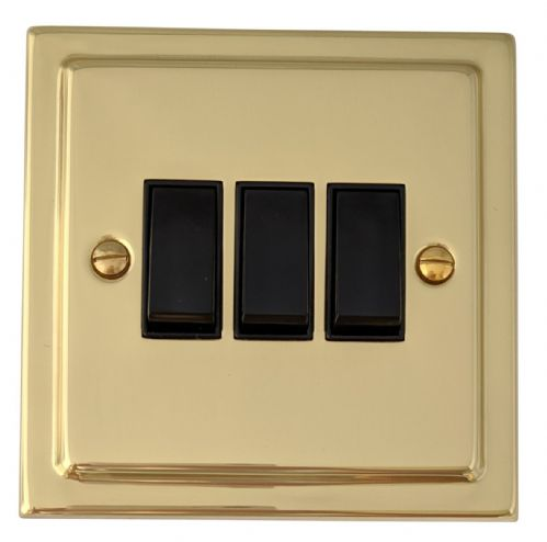 G&H TB3B Trimline Plate Polished Brass 3 Gang 1 or 2 Way Rocker Light Switch